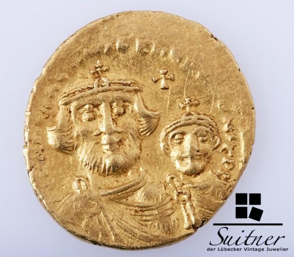 Solidus 613-616 Heraclius 610-641 Byzanz Gold mit Sohn RAR VZ-SS