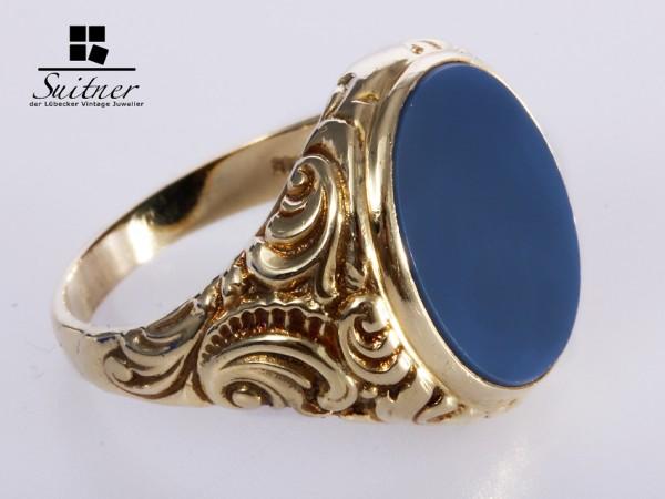Siegelring blauer Lagenstein 585 Gelbgold Gr. 66