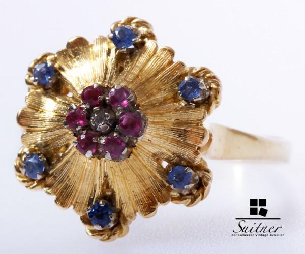 Vintage Saphir Rubin Ring 750 Gelbgold Gr. 58