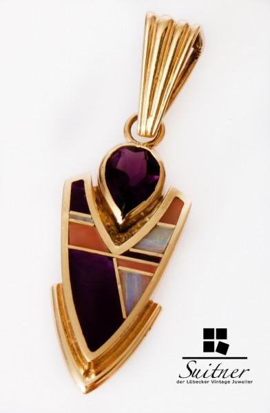 Anhänger Navajo Ray Tracey Indianer 585 Gold Amethyst Opal Unikat selten