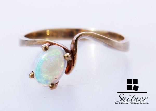 feiner Opal Ring aus Gold Gr. 51,5 wertige Fertigung klassisches Design