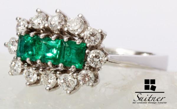 wertvoller 1,73ct. Smaragd Ring mit Brillanten in 585 Weißgold
