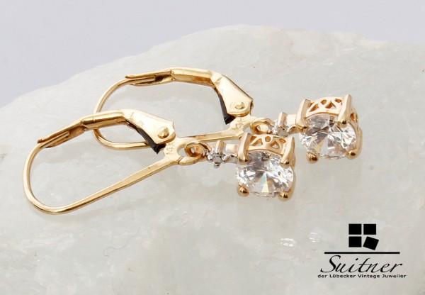 moderne 585 Gold Ohrhänger Ohrring mit je Halbkaräter Stein