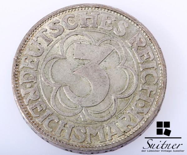 3 Mark Reichsmark Nordhausen 1927 Prägestätte A SS-VZ - selten