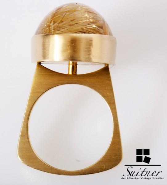 Unikat massiver Ring mit Rutil Quarz 585 Gold Nadelquarz Handarbeit KAY