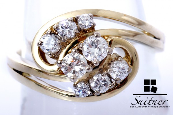 traumhafter Brillant Ring zus. ca. 0,62ct 585 Gold Gr. 56
