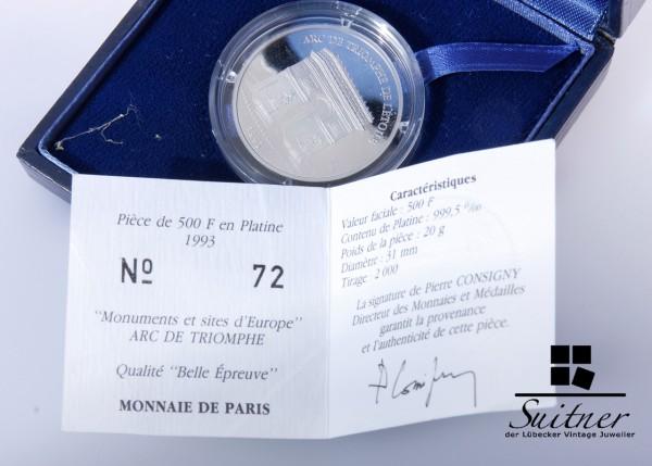 Paris 500 Francs 70 Ecus 999 Platin 1993 mit Box Papieren Platinium