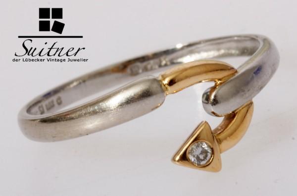 feiner Platin und Gold Ring Brillantring Gr. 55