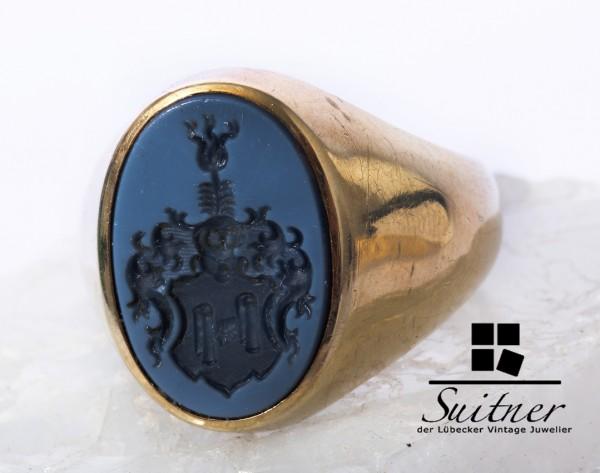 Adel Herren Siegelring Blau Lagenstein 585 Gold Gr. 62 Wappen Ring