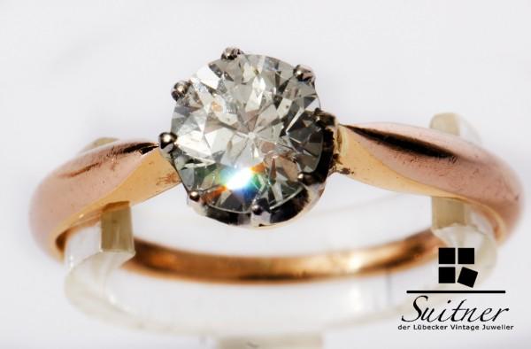 antiker 0,90ct Altschliff Diamant Solitär Ring 585 Roségold Gr. 55 Gold Klassiker