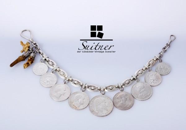 Schöne, antike Charivari aus 800er Silber mit Münz- und Kümmerer-Behang