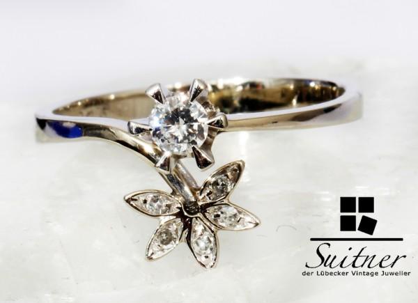 moderner floraler Brillant Ring aus 750 Weißgold Gold Blüten Romantik