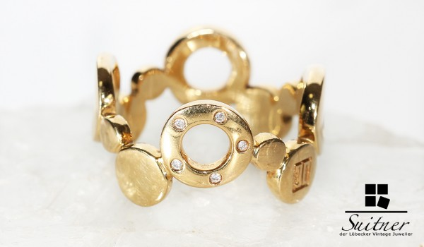 Design Jette Joop Ring aus 750 Gelbgold 5 Diamanten in Gold TOP
