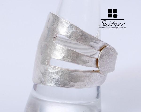 Interessanter Upcycle-Ring 900er Silber aus einer Gabel gefertigt
