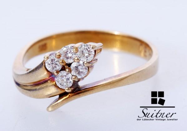 moderner Brillant Ring zus. ca. 0,30 ct 585 Gold Gr. 55 Schlange Snake