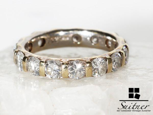 Memoire Ring 15 Brillanten mit insgesamt 3,3 ct 585 Gold