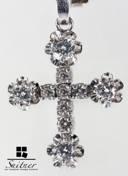 wertvolles Kreuz Kruzifix mit Brillanten zus. ca. 1,70 ct. Juwelen 585 Weißgold