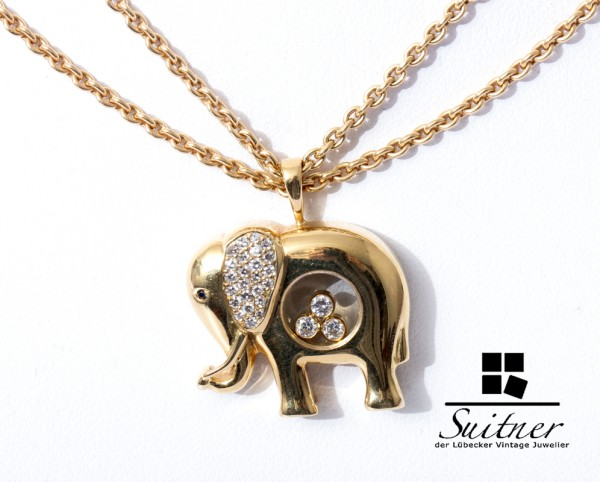 Chopard Happy Diamonds Elefant Collier 750 Gold Elephant 27 Diamanten