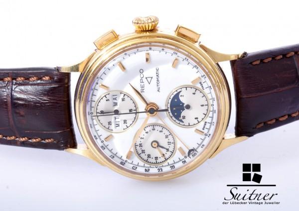 ewiger Kalender Repco Automatik 750 Gold Mondphase Datum Day Chronograph 7751