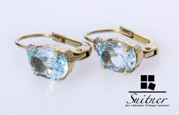 Klassische Ohrringe aus Gold mit Diamant und Topas in Blau wie Aquamarin