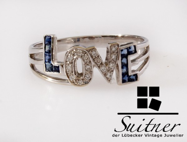 Design Love Ring Saphir Diamant 750 Weißgold Gr. 59 Gold Unikat