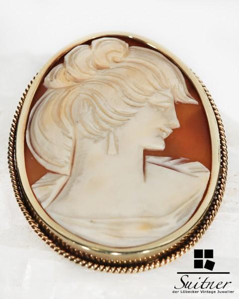 prachtvolle antike Gemme in 585 Gold mit Kordeldekor feinste Qualität