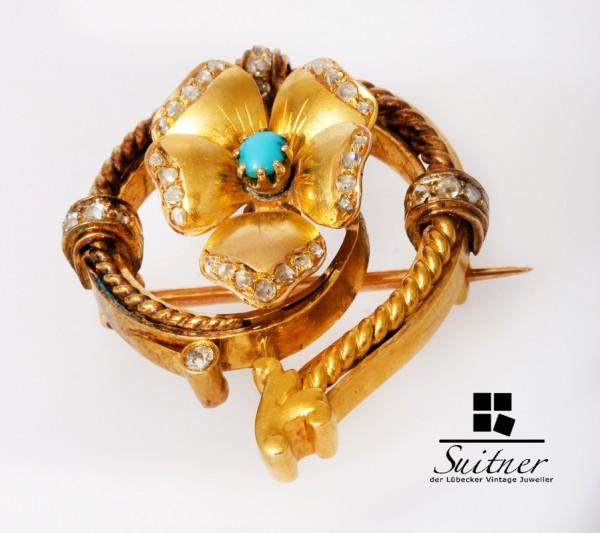 Wien antike Belle Epoque Brosche aus 750 Gold mit Diamanten Türkis Blume Floral