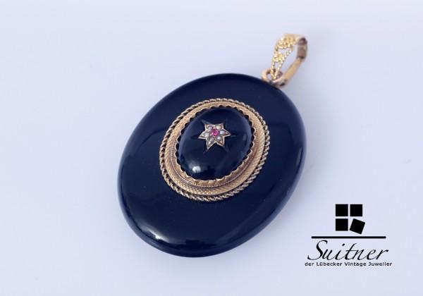 Hochwertiger, antiker Medaillon-Anhänger - Schwarzer Onyx und 585er GG mit Perlen und Farbstein