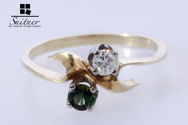 feiner Turmalin Brillant Ring aus 585 Gold Gr. 52 im Jugendstil Art Nouveau