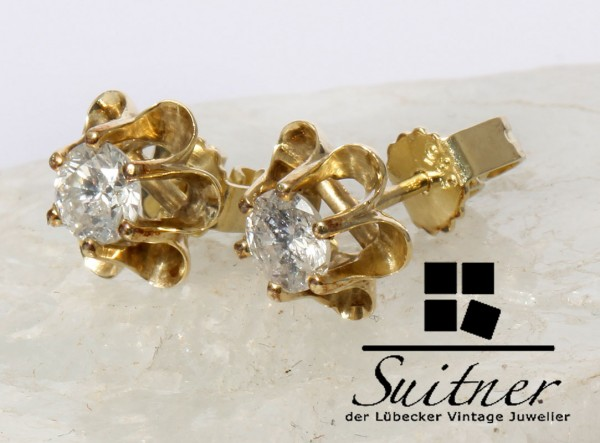 Klassiker - 0,75ct. Brillant Ohrstecker 585 Gold Solitär Ohrringe