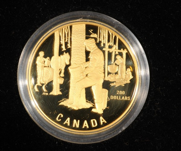 200 Dollars Canada Sugaring of Spring 1995 Gold proof PP Box Zertifikat Syrup