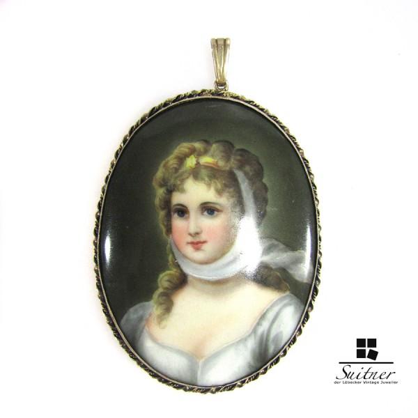 Anhänger Porzellan Medallon Lupenmalerei Marie-Luise von Preußen