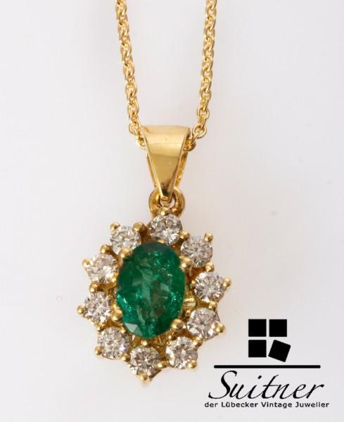 klassische Smaragd Kette 0,99ct Smaragd und Brillanten 750 Gold