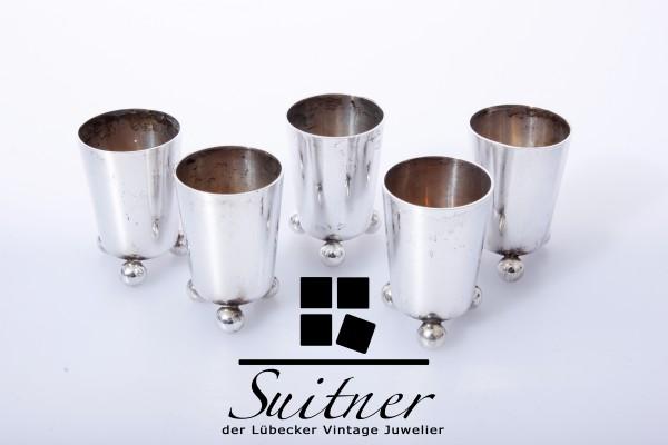 5 kleine Silber-Kugelfußbecher - 800er Silber - deutsch