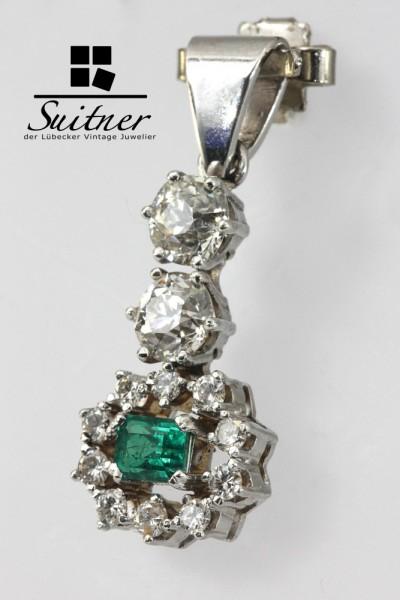 antiker Smaragd Anhänger mit großen Diamanten ca. 1,26 ct. 750 Weißgold Pendant