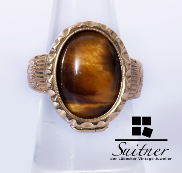 antiker Medaillon Ring Tigerauge aus 585 Gold Gr. 54 Rarität