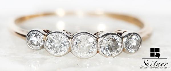 antiker Art Decó Ring mit 5 Altschliff Diamanten Bandring aus Gold und Platin