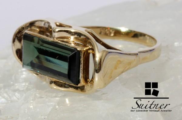 Art Deco Turmalin Ring aus Gold Gr. 57 Waldgrün Flaschengrün Baquette
