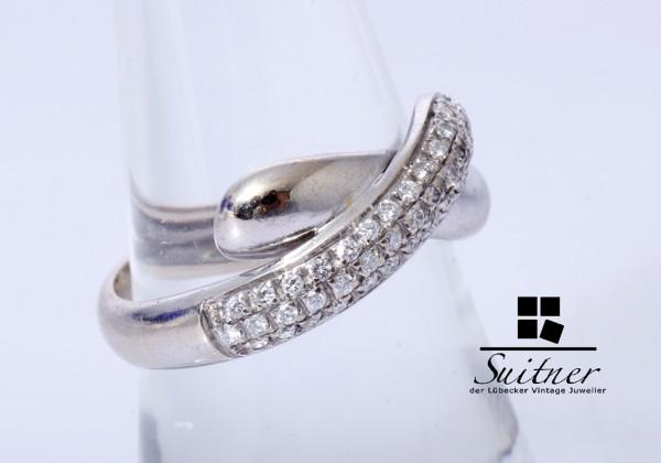 moderner 750 Weißgold Ring mit 39 Brillanten Gr. 55 Gold