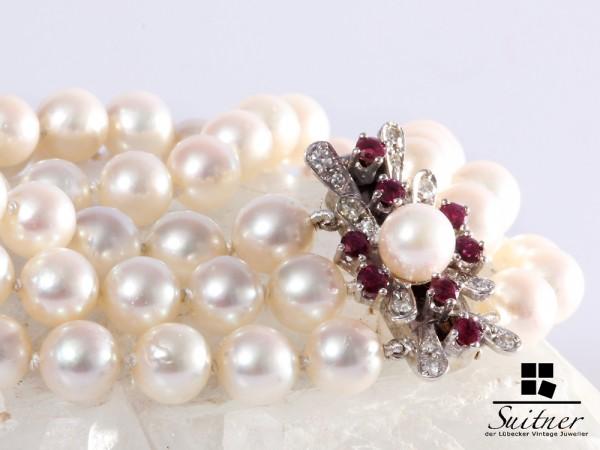wertvolles 585 Weißgold Armband Akoya Perlen Rubine Diamanten 18,5 cm