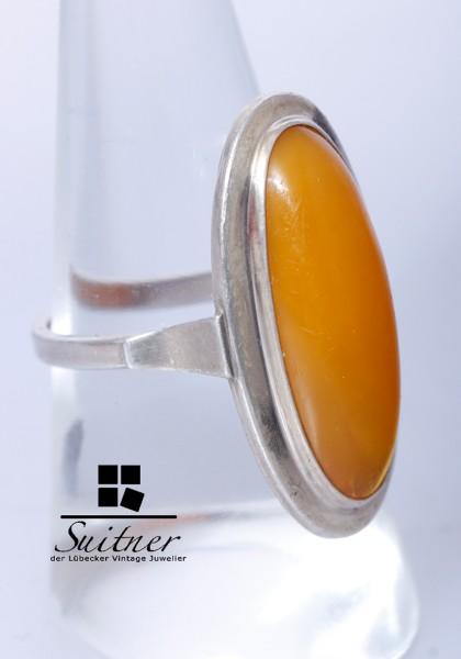 Antiker Butterscotch-Bernsteinring in 830er Silber