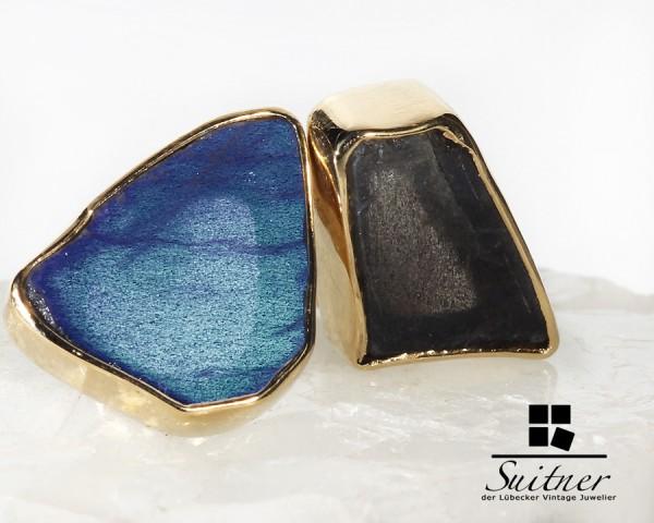 Ohrstecker mit feinem Labradorite / Spektrolith in blau / grau und Gold