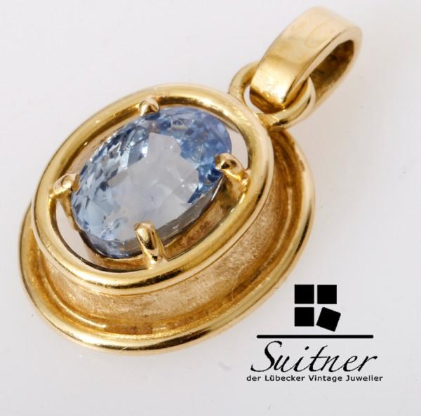 Design Anhänger mit 3,50ct. Saphir feines Blau 585 Gold Handarbeit