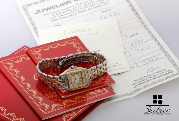 Cartier Panther Stahl Gold Lady mit Papieren guter Zustand Ref 1057917