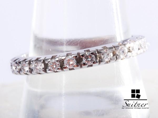 moderner Memoire Brillant Ring 0,92ct. 585 Weißgold Gr 62 Expertise 2200,-