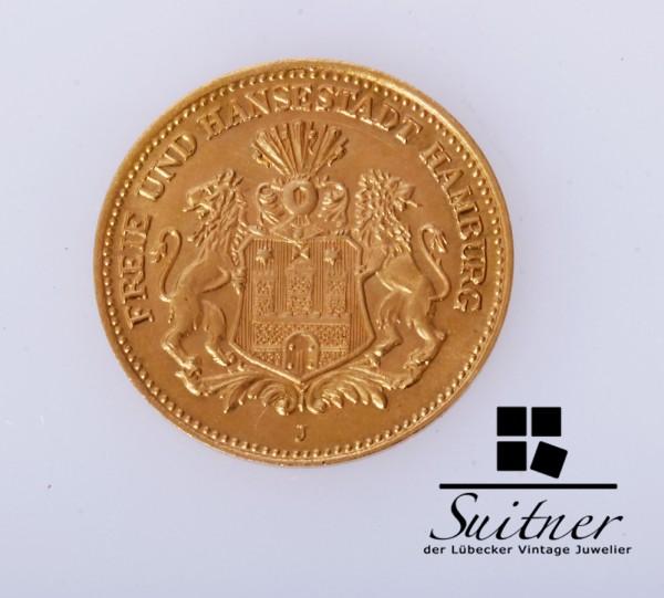 5 Mark Gold Hansestadt Hamburg 1877 J VZ - prächtige Erhaltung
