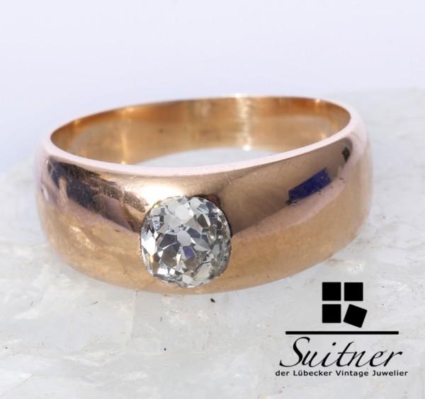 antiker 0,90ct. Diamant Solitär Ring 585 Gold Gr. 55 traumhaft schön