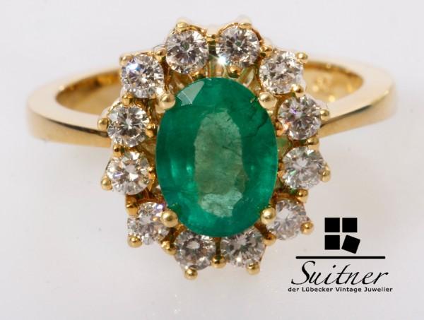 klassischer 2,70ct Smaragd und Brillant Ring 750 Gold Gr. 56