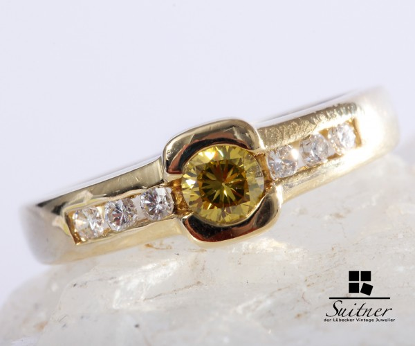 Fancy Yellow Brillant Ring zus. ca. 0,40 ct. 585 Gelbgold Gr. 54,5