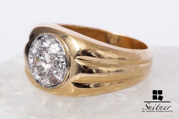 extravaganter großer Brillant Ring aus 585 Gold Gr.55